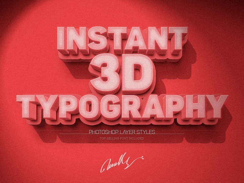 Instant 3D Text Effect digital product typography 3d text easy layer style creative market photoshop