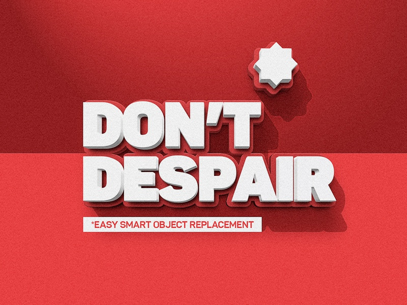 Instant 3D Text - Dont Despair typogaphy 3d text easy layer styles photoshop