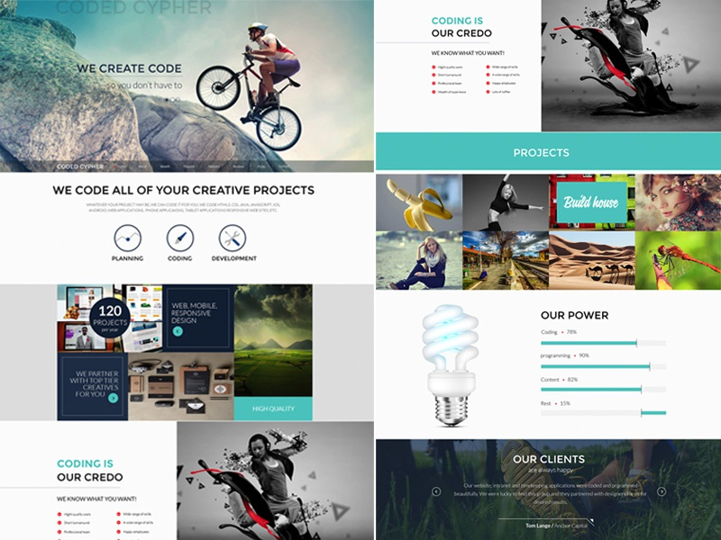 Coded Cypher Website website psd onepage mockup design clean flat