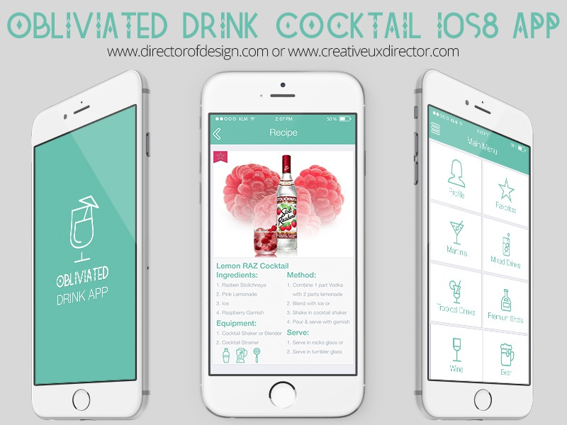 Obliviated Cocktail Drink Preview 01 recipe ui ux design ios8 psd application flat app drink cocktail
