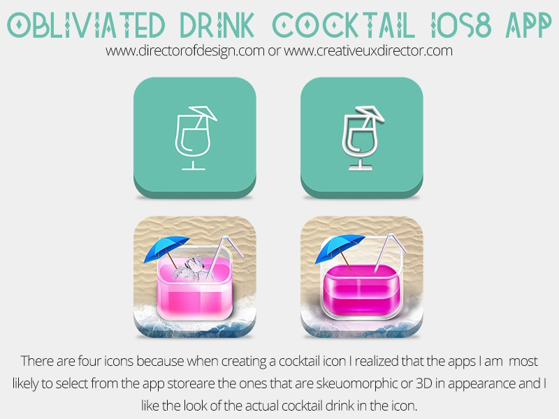 Obliviated Cocktail Drink Preview 02 icons skeuomorphic 3d recipe design ios8 psd application flat app drink cocktail
