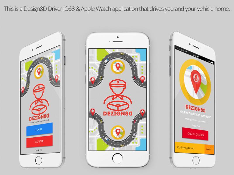 Design8D Driver iOS8 & iOS9 Mobile Application designated application mobile app taxi driver design8d