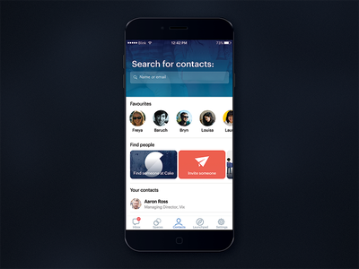 Find contacts photo search cards carousel contacts ux user interface user experience prototype iphone ios app