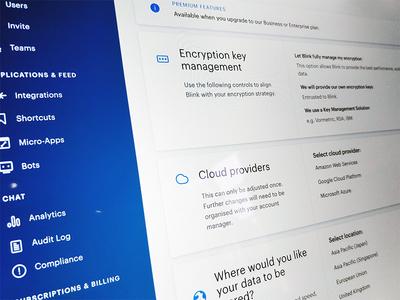 Blink Admin ·sneak peek gdpr security admin ui kit ui overview menu dashboard