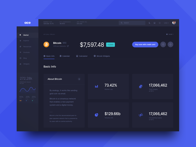ACE - Coin Page page coin ux market graph accent website typography ui dark dashboard crypto