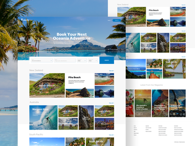 Jasons Travel Website holiday ticket fly airbnb exotic web landing page booking tourism australia newzealand travel blue website design ui