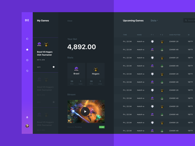 DE Sport accent design game violet illustration coin dark crypto list dashboard ux design ui