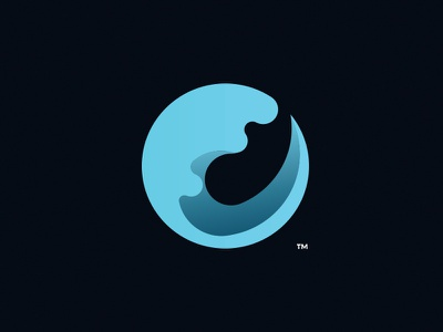 Wave wave gradients logo minimal