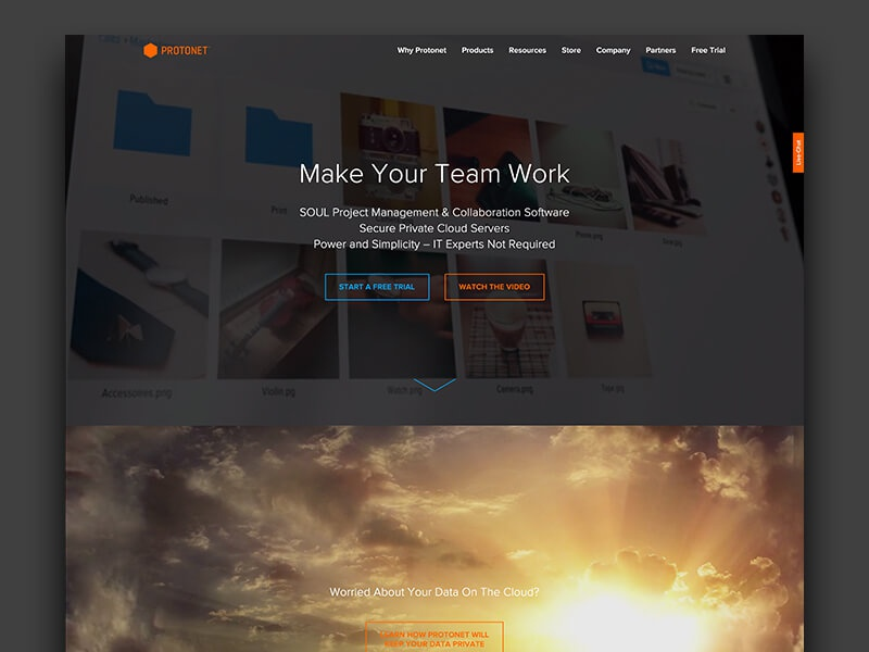 Protonet Website redesign savage homepage landingpage photoshop website