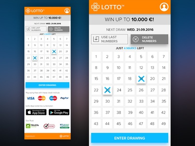 Lottery App yolo material design mobile web minimal lottery jackpot