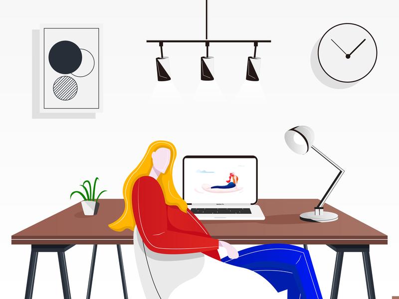 Creative workbench illustration design