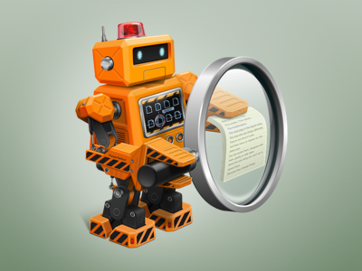 PowerSelect icon icon select finder search robot magnifying glass
