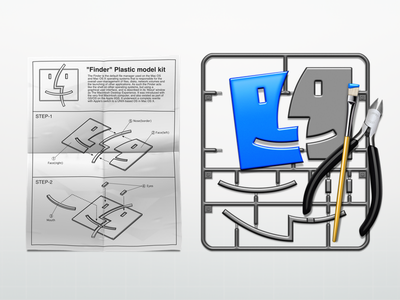 """Finder"" Plastic model kit finder icon paper brush nippers plastic model assembling instruction"