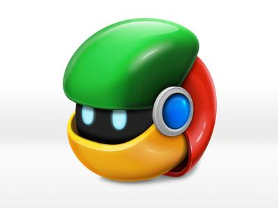 Chrome replacement icon chrome icon robot glossy google