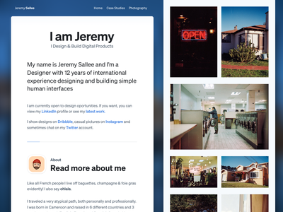 Updated personal website typography personal website portfolio design interface white web clean ui