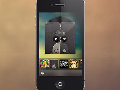 Music Track Selector UI iphone ios retina music cd cover sleeve ui