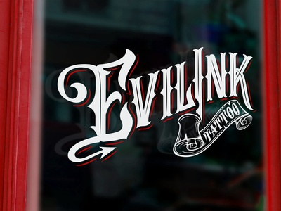 Evil Ink Tattoo Logo studio tattoo hand lettering custom type type logotype logo custom lettering typography