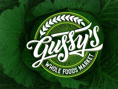 Gussy's Market Handlettering Logo hand lettering branding custom type type logotype custom logo calligraphy lettering typography market