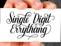 Script calligraphy Single digit