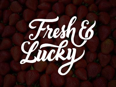 Fresh & Lucky logo script type custom type handmade design branding custom logotype logo calligraphy lettering typography