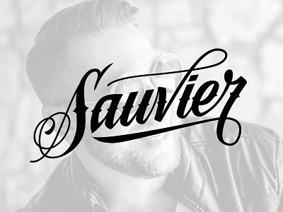 Sauvier logo typo hand lettering brand handmade custom type script design branding type custom logotype logo calligraphy lettering typography