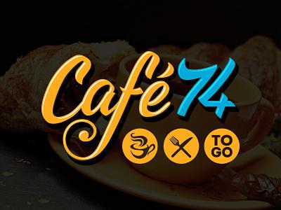 Cafe74 Logo typo cafe brand handmade custom type design branding type custom logotype logo calligraphy lettering typography