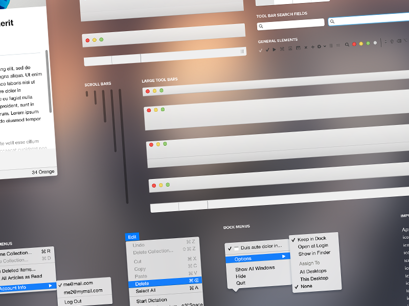 Mac OS X Yosemite UI  mac os x yosemite ui template psd custom shapes applications software design development free