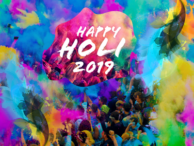 Happy Holi design typography illustration