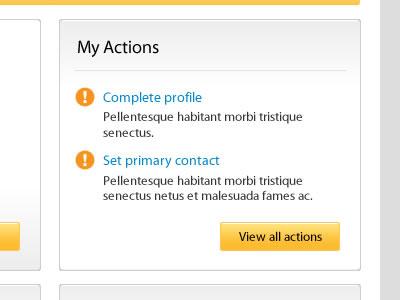 My Actions yellow ui ux web web design website portal grey