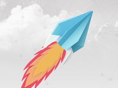 Rocket rocket clouds sky illustration paper origami