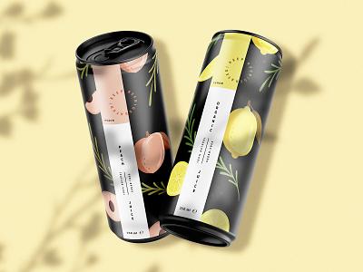 Packaging Design branding design food illustration mockup illustration for packaging tin packagingdesign peach lemon juice packaging