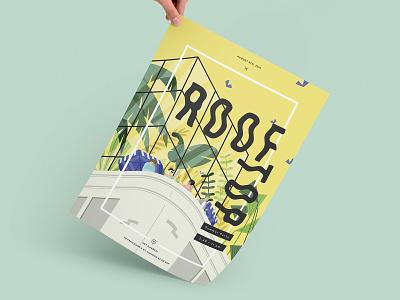 Rooftop branding design design branding illustration illustrated poster plants drinks summer party summer poster design poster mockup rooftop