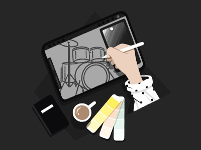 Work Process wip coffee cup coffee pantone styleframe blackandwhite storyboard colorscript drums procreate ipadpro illustration digital illustration sketch work process