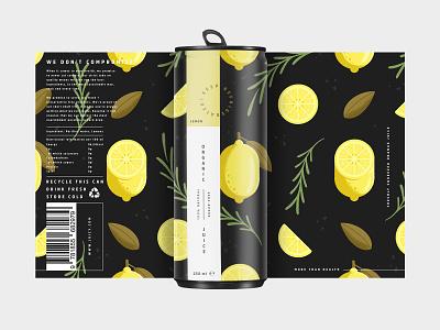 Lemon Packaging Design flavours drink juice organic plants tin lemons food packaging design packagingdesign packaging design illustration