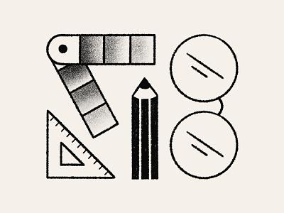 Iconography icon pantone ruler pencil glasses sketches sketch illustration spot illustration iconography