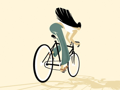 Faster transactions without restrictions sandals characterdesign hair restriction cycling riding bicycle illustration