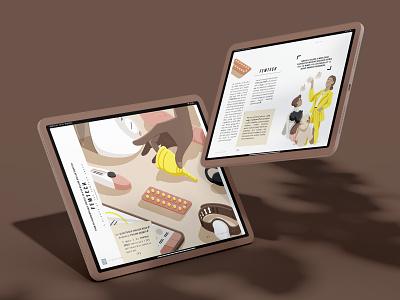 Femtech Mockup avawomen naturalcycles lenacup smilemakers elvie contraception editorial femtech ipad pro digital magazine magazine mockup design illustration