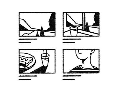 Storyboard countryside pencil icon spot illustration iconography sketch illo illustration storyboard