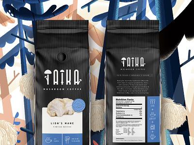 Taika #3 branding food packaging design food packaging coffee packaging coffee organic coffee organic mushroom coffee packaging design illustration