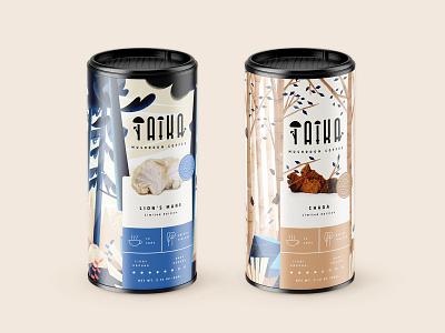Taika #4 coffee cup chaga lionsmane trees illustration coffeepackaging coffee mushrooms tin mockup design packagingdesign packaging branding design branding