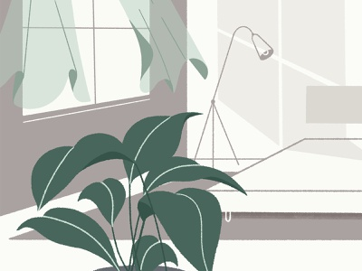 Let's Rise #3 lamp pastel colors decor bed window plant concept scenery ambiance westin illustration