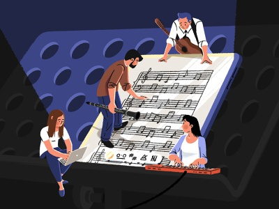 Music Sheets Creation clarinet guitar piano music creation music instruments playing characters playing music sheet music illustration