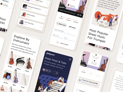 Jellynote Mobile UI violin clarinet flute bass drums piano guitar music instruments music illustration music sheets music illustration webdesign design mobile ui mobile