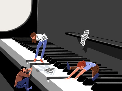 Piano concept mini character character character design illustration instrument music music instrument piano