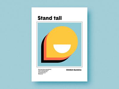 Stand tall music smile icon geometric geometry print poster square circle shapes grain texture flat minimal minimalism minimalist vector