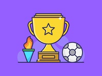 Footbal Trophy, Flame, and Ball
