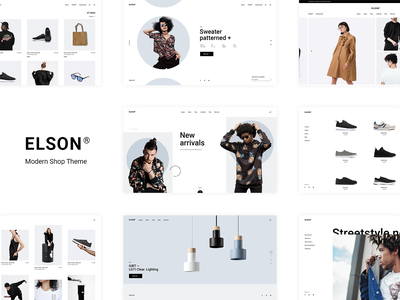 Elson online shop minimal urban streetwear wordpress woocomerce website mockup web design ux ui theme template responsive lookbook layout landing page fashion brand fashion ecommerce clothing