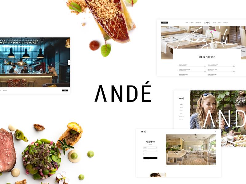 Andé - Elegant Restaurant Theme culinary food photography fine dining elegant food cooking restaurant template theme webdesign layout website mockup wordpress