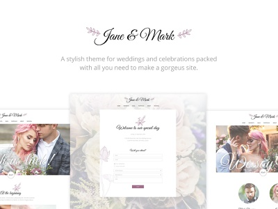 Jane & Mark - Wedding Theme wedding venue wedding planner wedding invitation wedding photography gallery events beauty web design template responsive layout theme wordpress