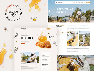 Mellifera - Beekeping and Honey Shop Theme honey shop honeycomb web design landing page template website mockup layout ux ui theme wordpress shop beekeeping beekeeper honeybee honey